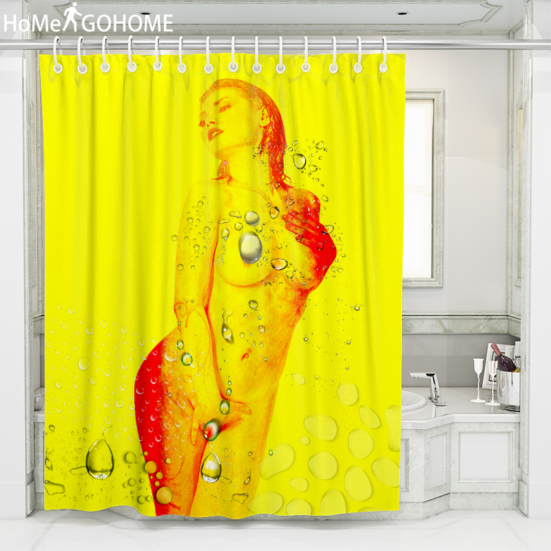 Naked Girls Watercolor Art Shower Curtain Bathroom Waterproof Fabric Beauty 3D Curtains for Bath Yellow