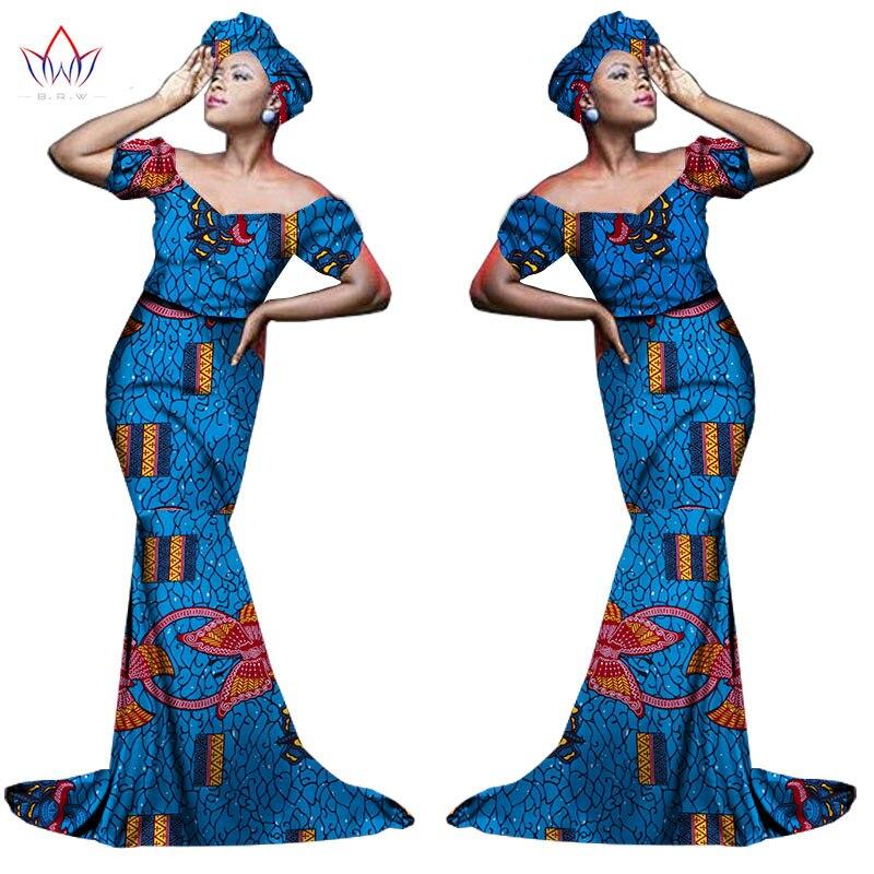 Африканский хлопчатобумажный материал Платья Для Женщин Дашики традиционная Анкара Мода Африка одежда с коротким рукавом Анкара платья WY963 - Цвет: 1