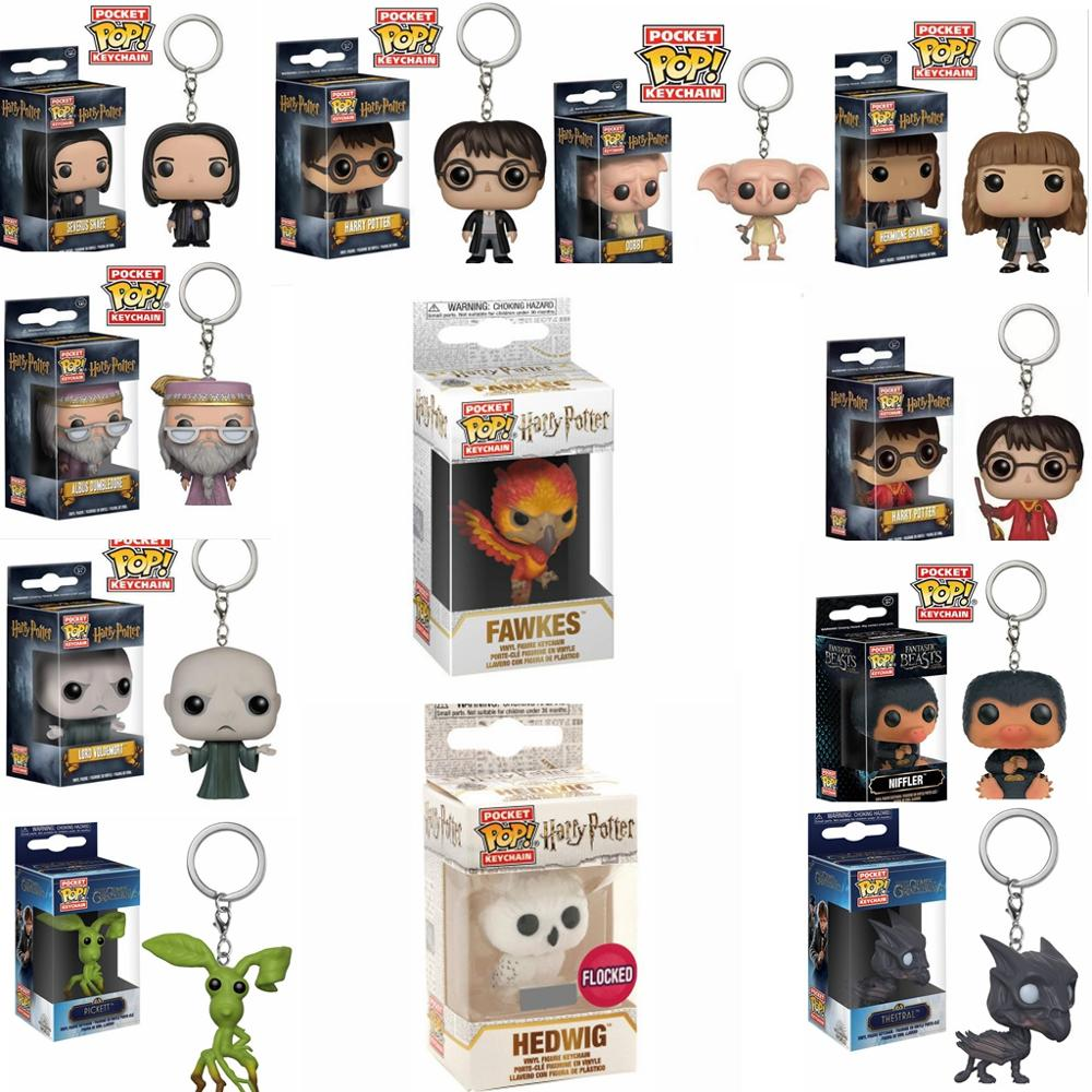 FUNKO POP HARRI POTTER New FAWKES HEDWIG DOBBY HERMIONE DUMBLEDORE VOLDEMORT Keychain Action Figure Collection Toys