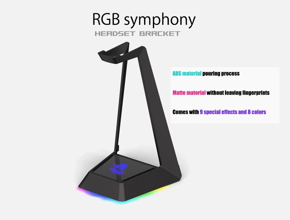 RGB Headphone Stand ROG Symphony(8 Effects) Headset Base Bracket Customized 10 Logos 3 USB Expansion Port