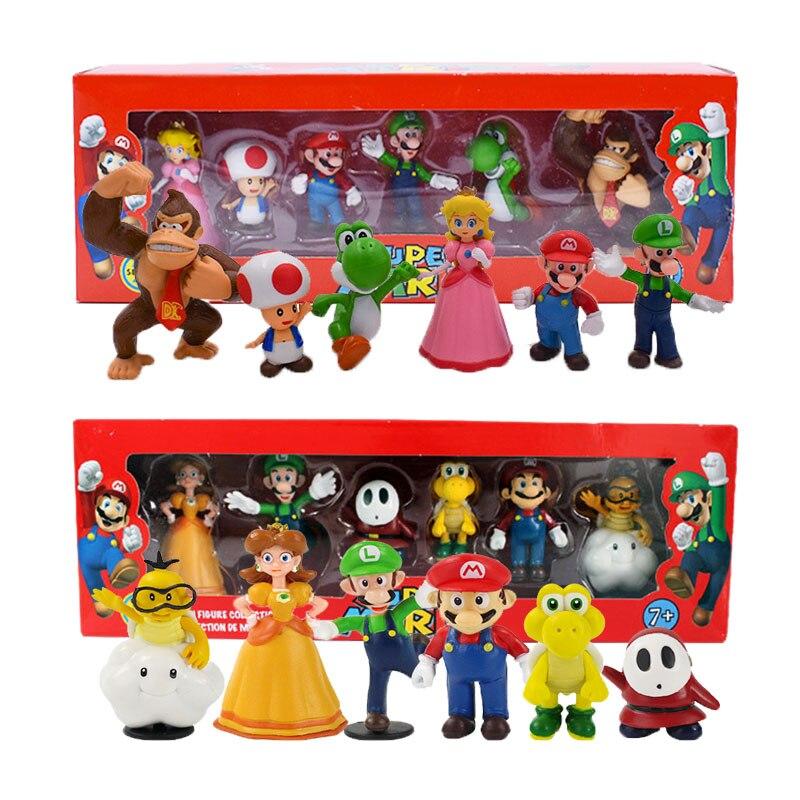 Super Mario Bros Bowser Luigi Koopa Yoshi Waluigi Toad Peach Princess Odyssey DONKEY KONG Action Figure Model Dolls Toys Box