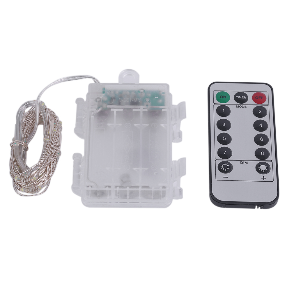 5m 50 LED Silver Wire String Light Fairy Lamp 3AA Battery Box With Remote Control Christmas Outdoor Decoration