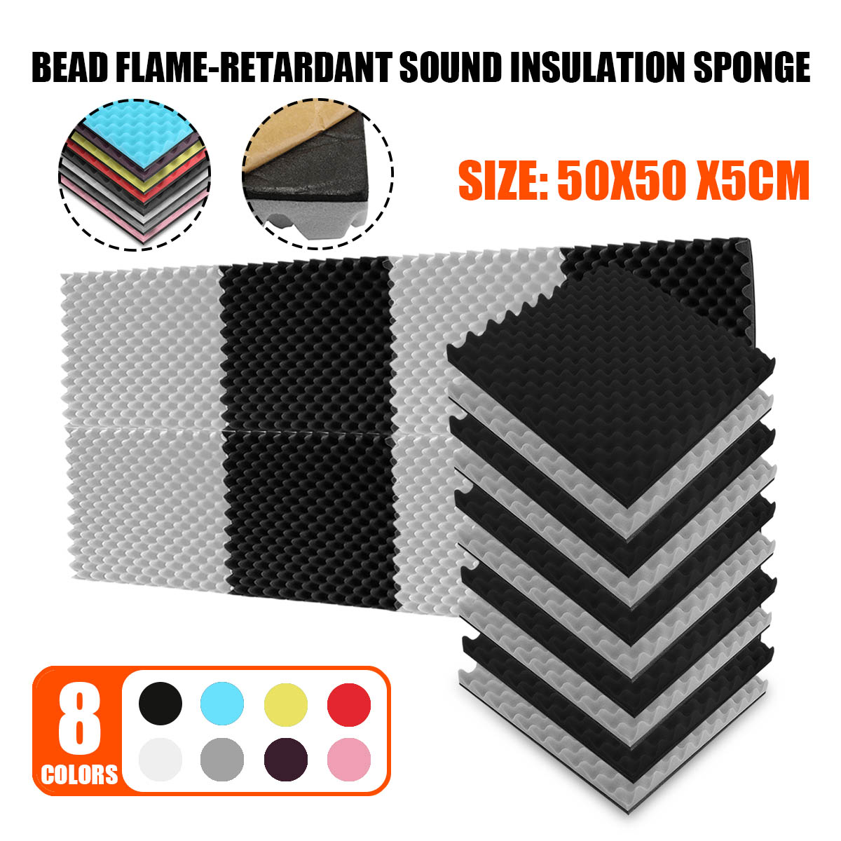 8 Colors 500x500x50mm Soundproof Foam Egg Profile Sound Absorbent Foam Acoustic Panel Noise Absorption File For KTV Audio Room