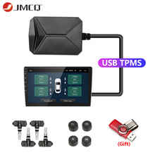 JMCQ USB TPMS Tire Pressure Monitoring System Display Alarm System 5V Internal Sensors Android Navigation Car Radio 4 Sensors large size screen monitors car tire pressure monitoring system car tpms usb connecting android dvd mp5