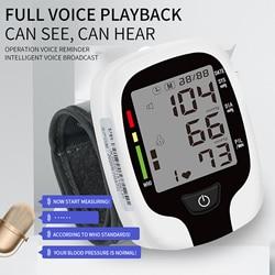 Digital Wrist Blood Pressure Monitor Sphygmomanometer Voice Reminder Monitor Rate Pulse Heart Beat Rate Meter Device Tonometer