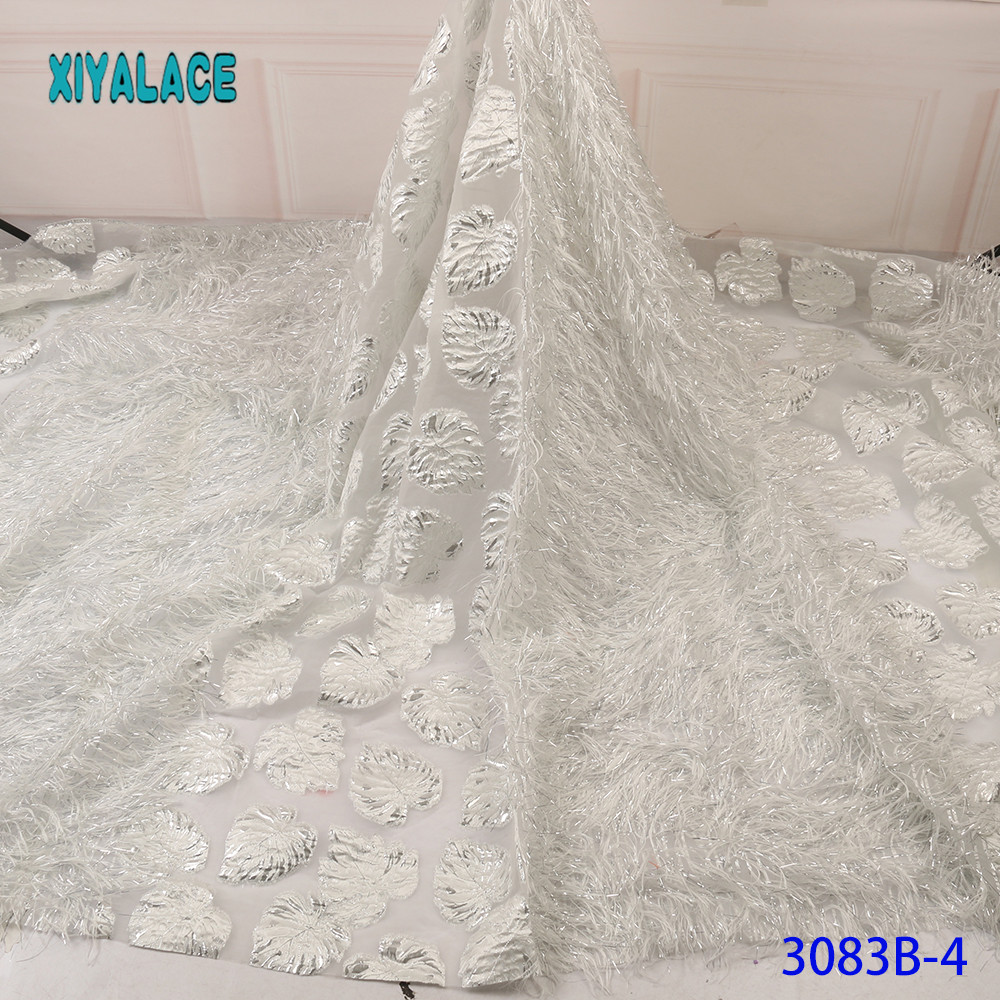 Pure White 3D Laces 2019 High Quality Beaded Nigerian Lace Fabric Embroidery French Tulle Lace With Stones For Bridal YA3083B-4