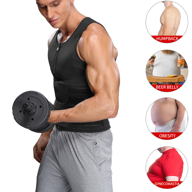 Men's Body Shaper Waist Trainer Sauna Vest Double Belt Sweat Shirt Corset Top Abdomen Slimming Shapewear Fat Burn Fitness Top 2