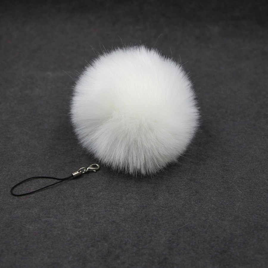 Simülasyon tavşan kürk cep telefonu kordon 8cm kürk topu kolye anahtarlık Qiche bayanlar çanta aksesuarları anahtarlık kolye anahtarlık