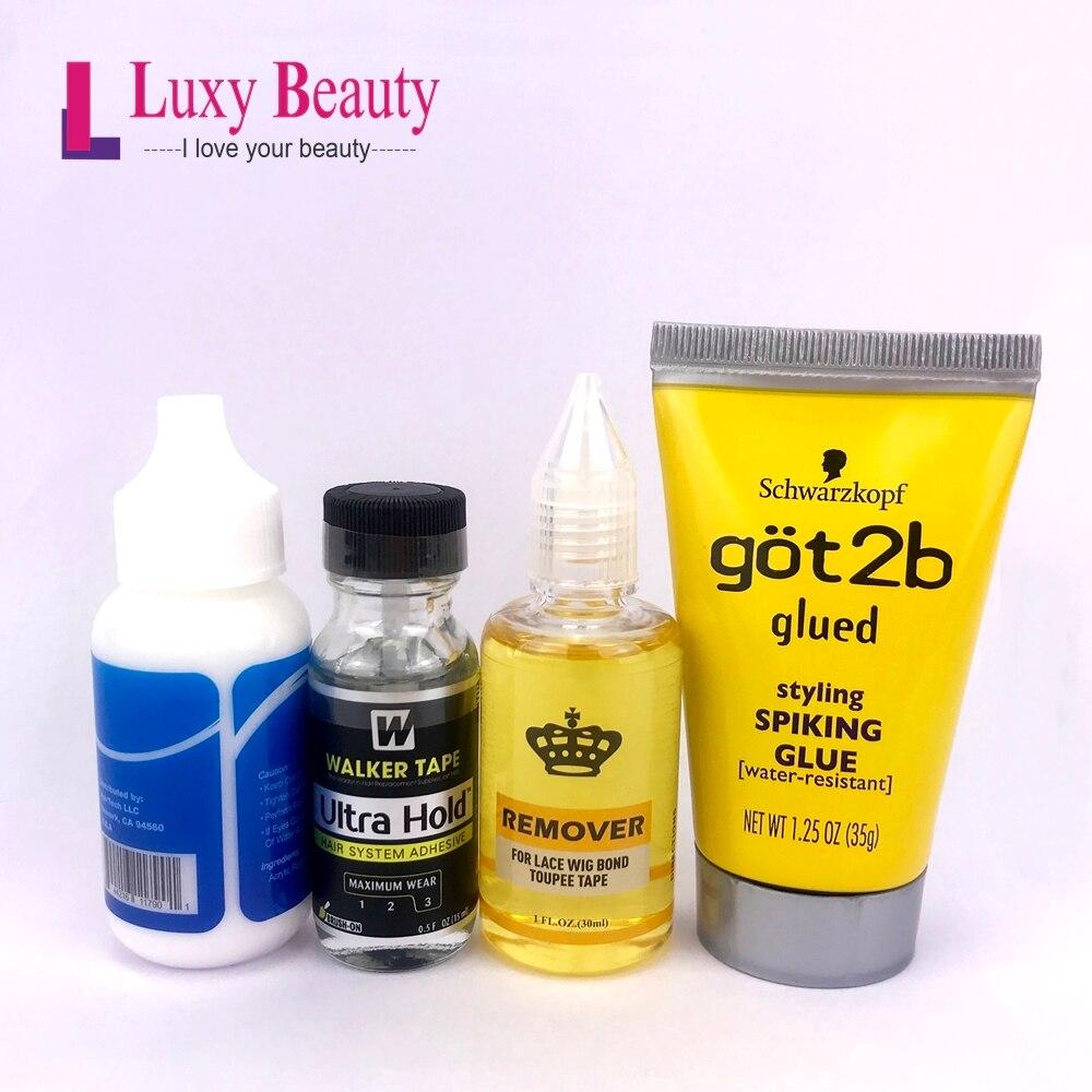 Супер кружевной парик, клей для волос, 38 мл + средство для удаления волос 30 мл + гель для волос Got2b, Размеры 35 г, стандартные комплекты для ленты...