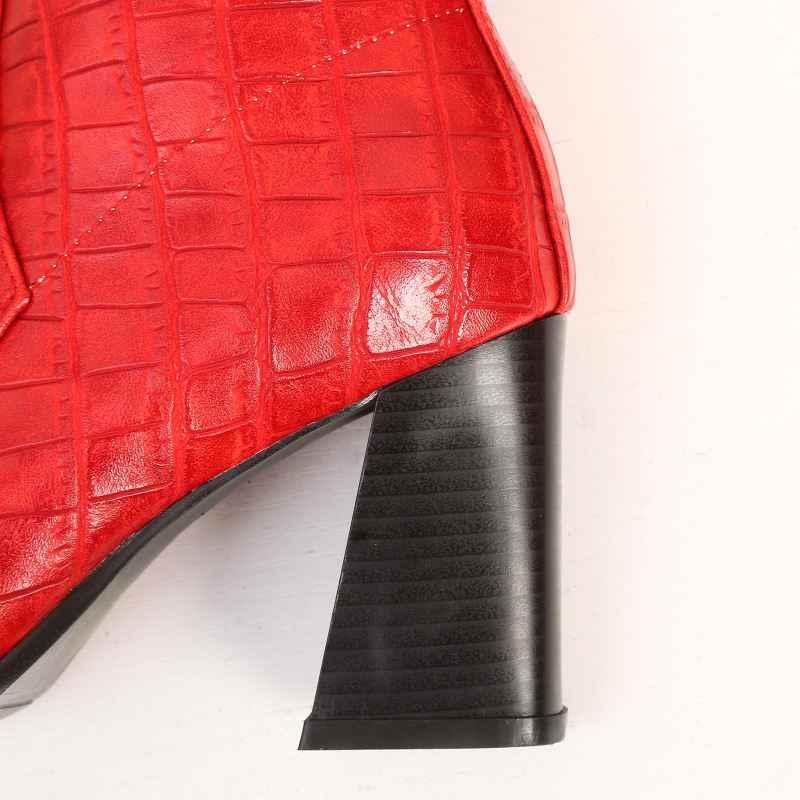 Taoffen Nữ Mắt Cá Chân Giữ Ấm Mùa Đông Giày Thô Gót Khóa Kéo Sang Trọng Ngắn Giày Nữ Cổ Điển Mũi Nhọn Giày Size 32- 43