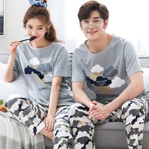 Image 4 - Summer Short Sleeve Cat Pyjamas Lovers 100%Cotton Couple Pajama Sets Women/Men Sleepwear Striped Nightgown Big Size Home Clothes