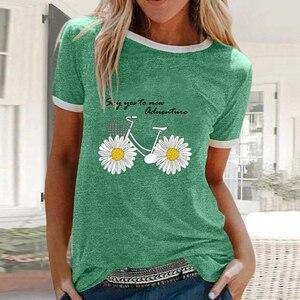 Милые топы, пуловеры, блузы с цветочным принтом, женская летняя футболка, большие размеры, повседневная женская футболка, Camisetas Mujer Boho Shirts 2020