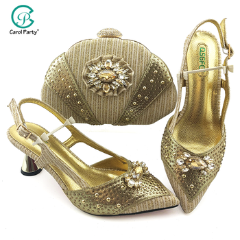 2020 New Gold Shoes and Bag To Match Italian design Women Shoe and Bag To Match for Parties African Shoes and Bags Matching Set