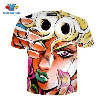 SONSPEE Summer Men Women Kujo Jotaro Sweatshirt 3D Print Anime JoJo Bizarre Adventure T Shirt Short Sleeve Top Pullover SY201-01 2