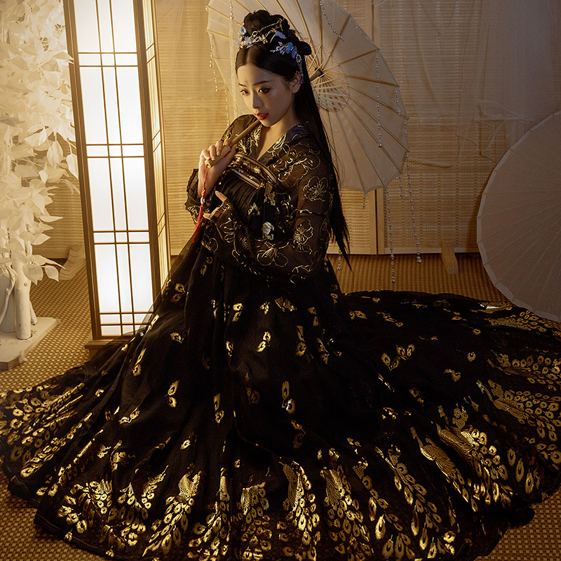 Women Black Bronzing Hanfu Dress Chinese Ancient Princess Tradition Vintage Hanfu Dress Female Carnival Cosplay Costume DL5340