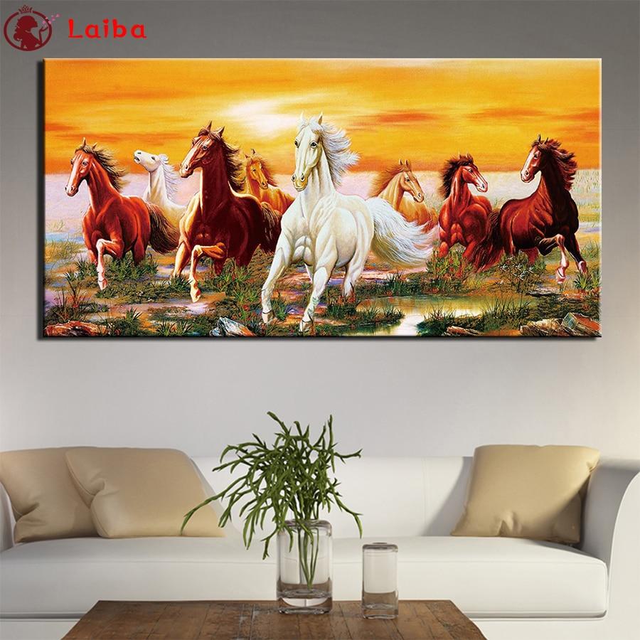 Алмазная живопись 5d «сделай сам», современное искусство животных, рисунок с лошадьми, бегом на закате, алмазная живопись, вышивка крестиком,...
