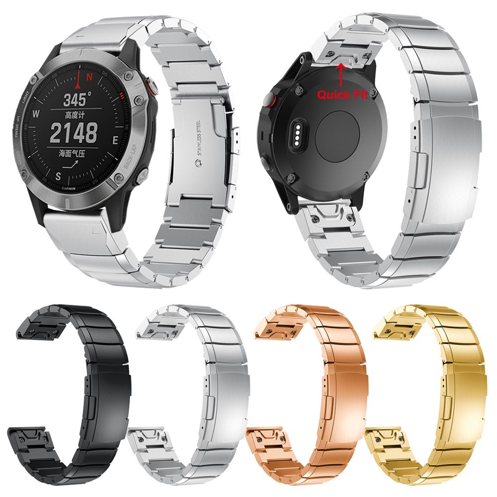 26mm 22mm 20mm QuickFit Metal Strap For For Garmin Fenix 6 6X 6S 5S 5 5X Plus Stainless Steel Band For Forerunner 945 935 Watch
