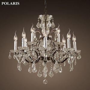 Image 4 - Vintage Rustic Crystal Chandelier Lighting Candle Chandeliers Pendant Lamp Hanging Light for Dining Room