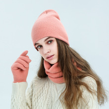 Scarf Hat Warm-Hats Women Blue Autumn Winter for Black Pink Red Gloves-Set Imitation-Mink