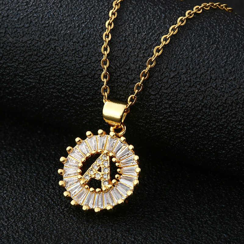 Hot Cubic Zirconia 26 ตัวอักษรจี้สร้อยคอบุคลิกภาพ A-Z Charm สร้อยคอผู้หญิงเครื่องประดับ Bijoux ของขวัญ