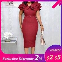 Mid-Calf Falbala Short Sleeve Pullover Plain Dress Women Summer Ruffle Elegant Wine Red Bodycon midi Dress(with belt