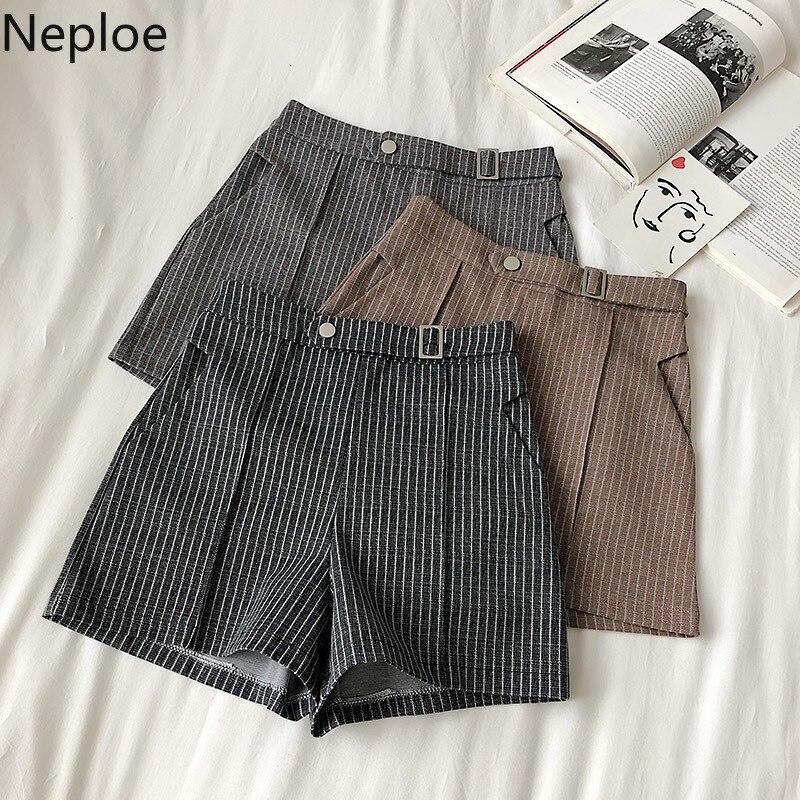 Neploe Striped Women Shorts Spring Spring Summer 2020 Korean Back Zipper Button Famale Bottoms Casual Wide Leg Short Pants 81091