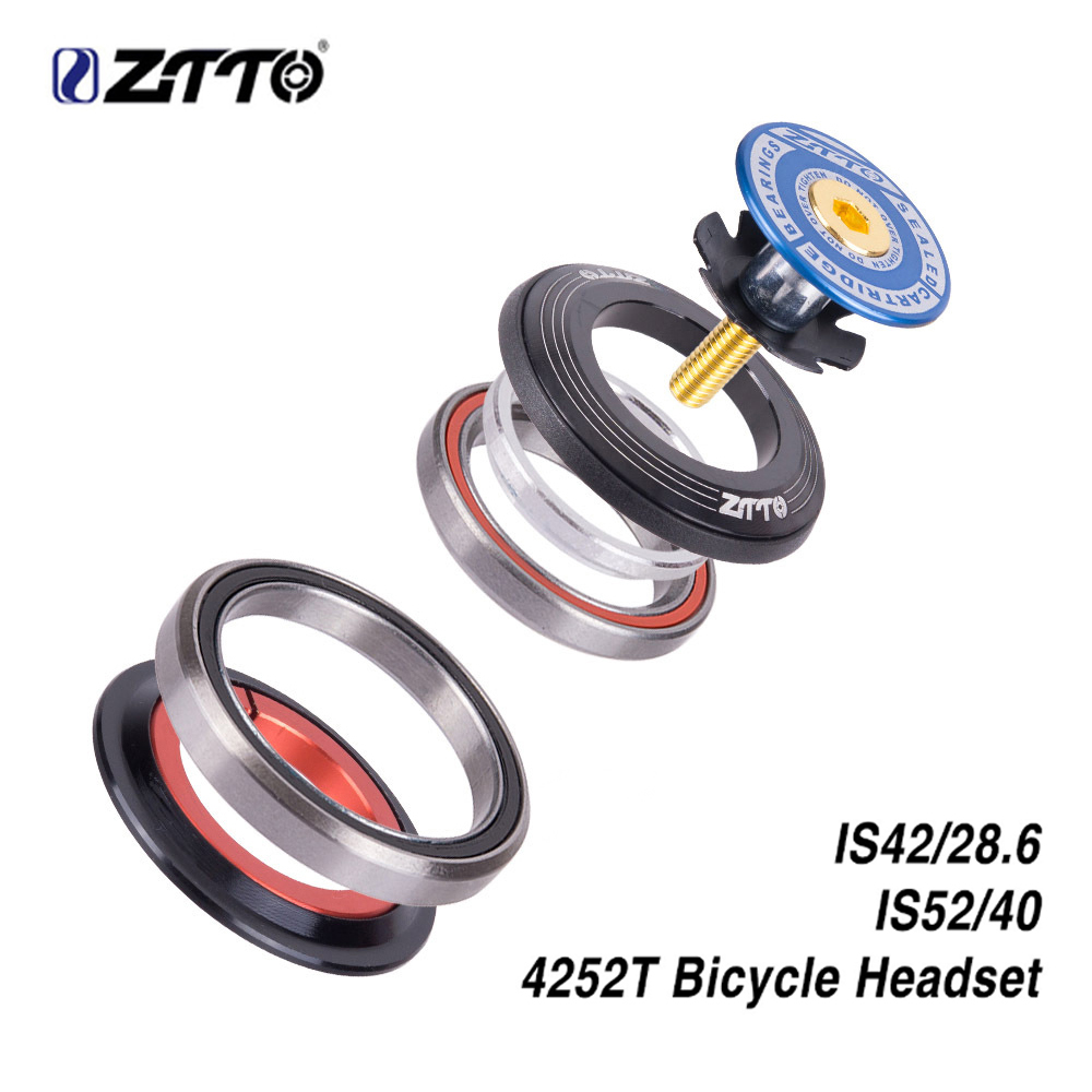 "Ztto bicicleta fone de ouvido 42mm 52mm cnc 1 1/8 ""-1 1/2"" mtb rolamento reto tubo cônico garfo is42 is52 steer coluna sistema integrado"
