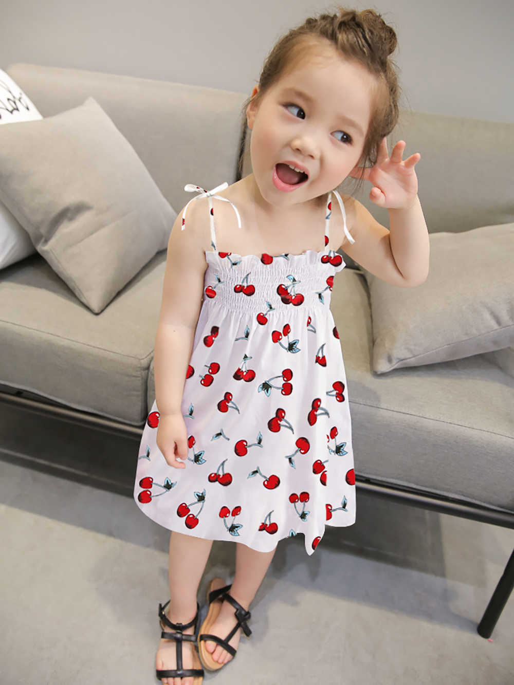 Kids Girl Sling Dress Summer Chidlren Clothes Toddler Girls Dresses Baby Cotton Sleeveless Print Flower Princess Clothing