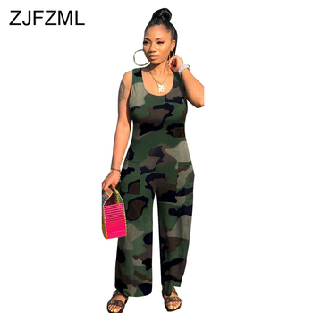 High Waist Casual One Piece Overall Women Round Neck Sleeveless Straight Long Jumpsuit Leopard Camouflage Print Boot Cut Romper casual sleeveless round neck detachable women s jumpsuit