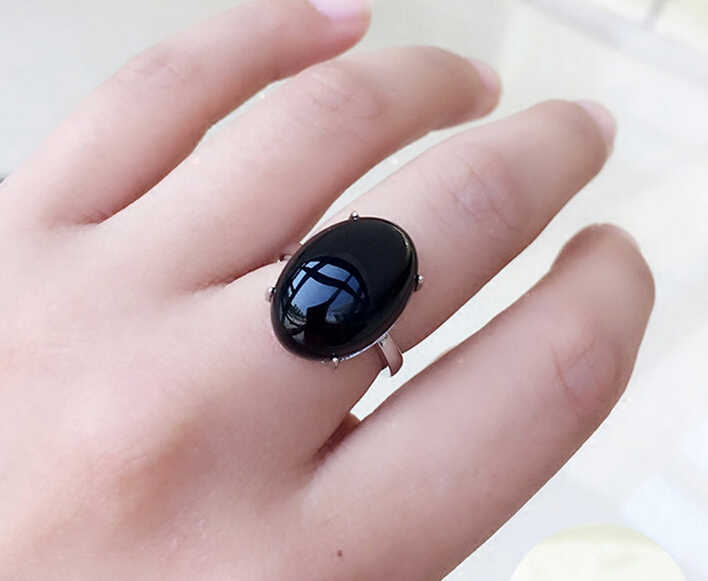 free shipping  Natural Black Onyx Ring opening all-match ring contracted South Korea personality girlfriend bestie ring finger