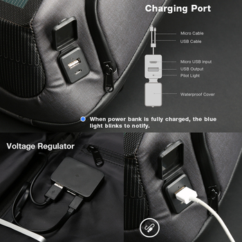 Kingsons new multifunctional solar charging anti-theft backpack men's 15-inch USB charging travel bag high-end upgraded version 5