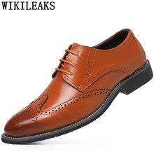Официальная обувь; Мужская обувь с перфорацией типа «броги» из натуральной кожи; классические мужские туфли в винтажном стиле; Мужская офисная обувь; chaussure homme heren schoenen bona