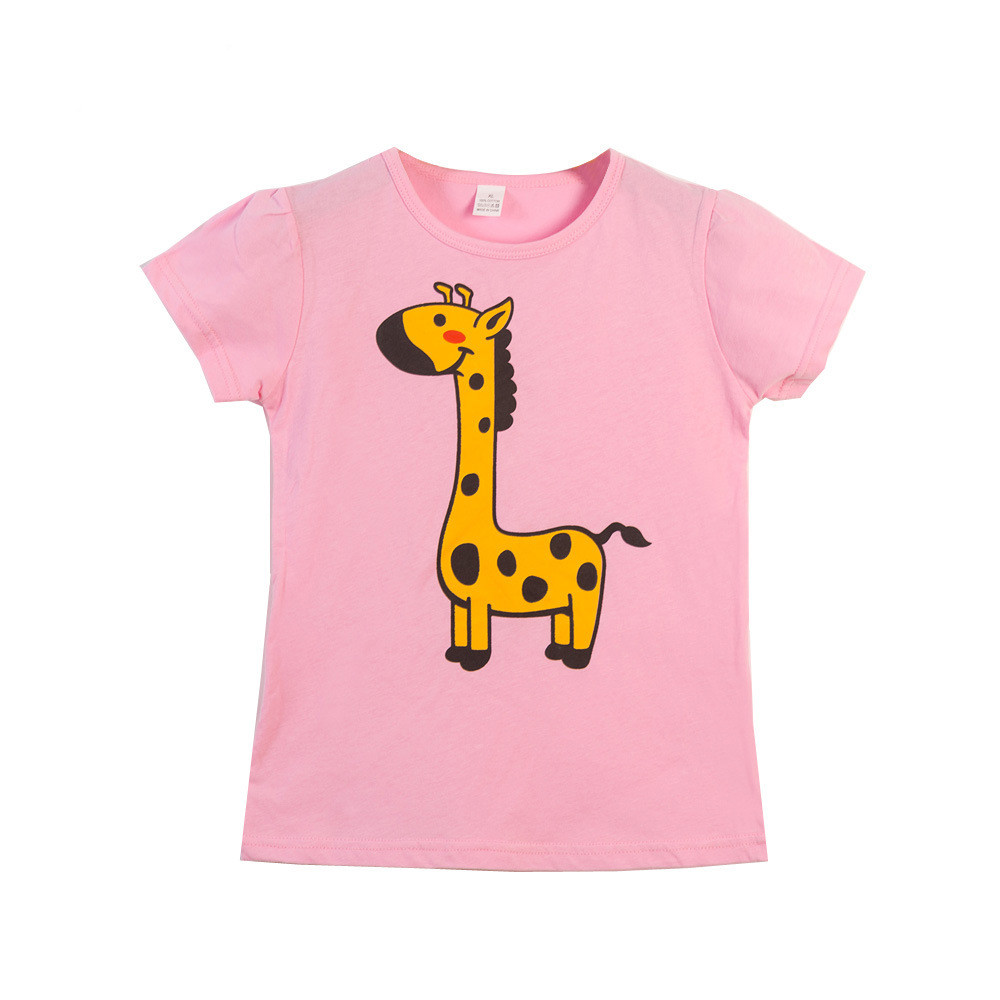 VIDMID  Children T-Shirts Cartoon Print Kids Baby girl Tops Short Sleeve T-Shirt children cotton pink t-shirts tees 4137 03 2