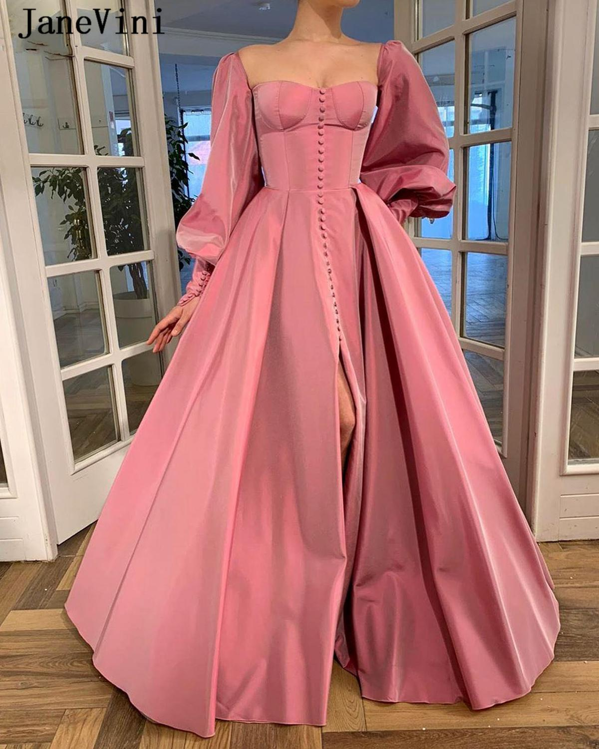 JaneVini 2020 Elegant Muslim Long Evening Dresses with Puffy Sleeves A Line Satin Floor Length Dubai Strapless Women Party Gowns