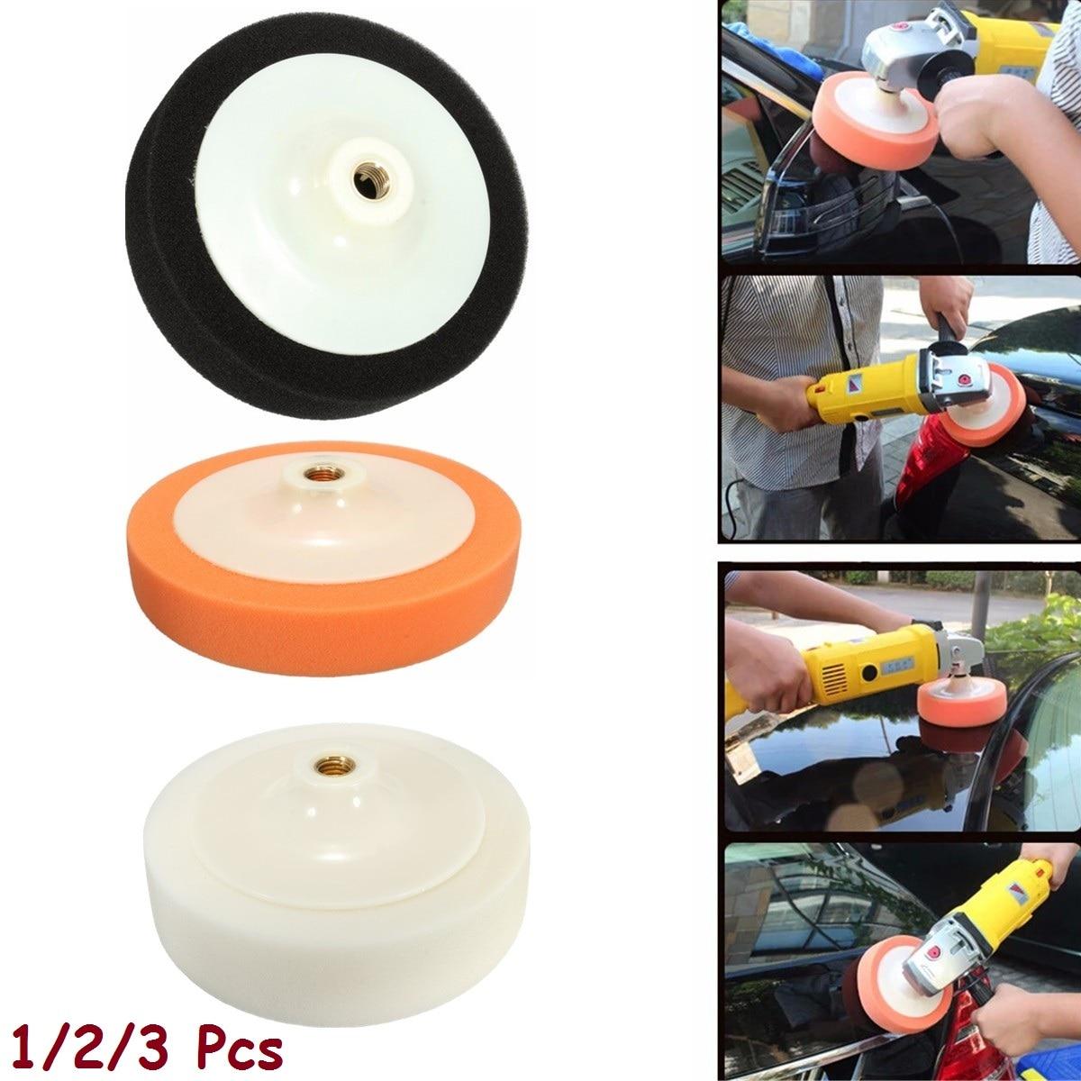 "PACK OF 3 FIRM WHITE POLISHING HEADS 150mm//6/"" Sponge Buffing Pads M14 Thread Set"