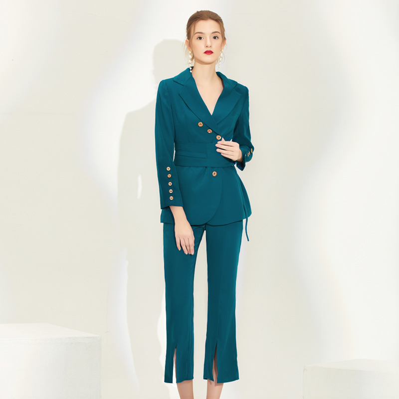 2020 New Fashion Spring Fall Work Pant Suits OL 2 Piece Set For Women Business Slim Suit Blazer Jacket Trousers Clothing Female