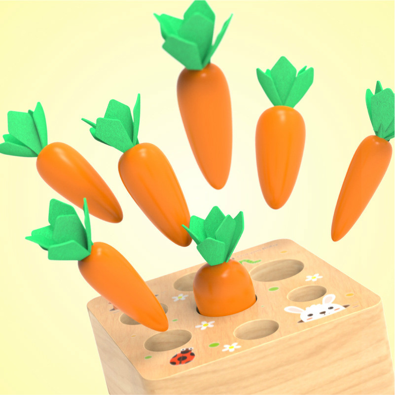 Kids Wooden Building Blocks Toys Pulling Carrot Toy Spelling Carrot Game Children Early Childhood Education Toys