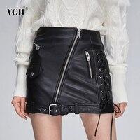 VGH PU Leather Lace Up Women's Skirts High Waist Pocket Zipper Bandage A Line Mini Skirt Female 2019 Autumn Fashion New Clothes