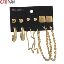 OATHYAN 6 Pairs/Set Classic Big Round Circle Hoop Earrings Sets For Women Star Ball Square Golden Color Metal Earring Jewelry oathyan 6 pairs set classic round hoop earrings for women party jewelry punk small oversize big circle earring set ladies gifts