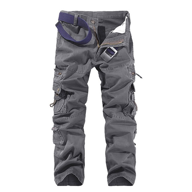 SHUJIN High Quality Men's Cargo Pants Casual Loose Multi Pocket Military Pants Long Trousers For Men Camo Joggers Plus Size 4