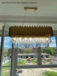 Image 5 - Phube oświetlenie nowoczesna kryształowa żyrandol luksusowe owalne złote zawieszki oprawy oświetleniowe jadalnia zawieszenie LED nabłyszczania