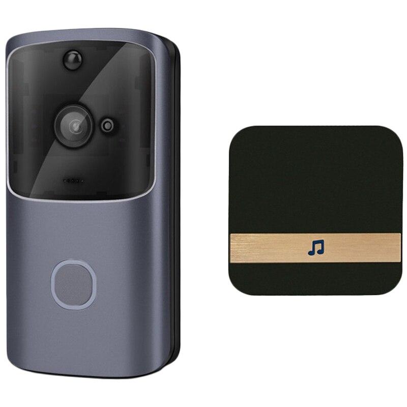 Güvenlik ve Koruma'ten Kapı Zili'de M10 720P Wifi akıllı Video kapı zili kamera App kontrolü uzaktan izleme Video interkom kapı zili makinesi seti abd Plug title=