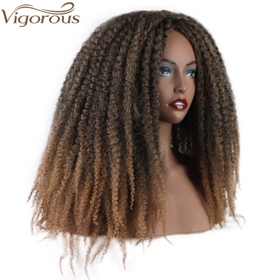 Vigorous Long Braiding Hair Wigs Marley Afro Kinky Curly Synthetic Wig For Black Women/Men Black Brown Dard Brown