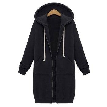 Spring 2020 Casual Hoodie Zipper Long Coat Sweatshirt Women Zip Up Loose Oversized Jacket Coat Women Hoodies Outwear Tops 14
