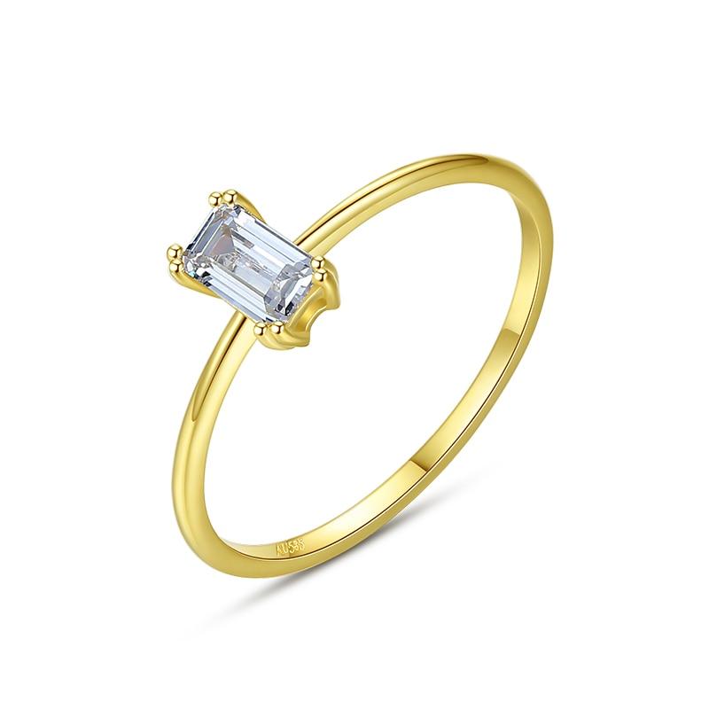 SANYU luxe 6mm AAA cubique Zircon pur 14 or bagues pour femmes Yellowe or CZ mince anneau Anillo AU585 bijoux R14155