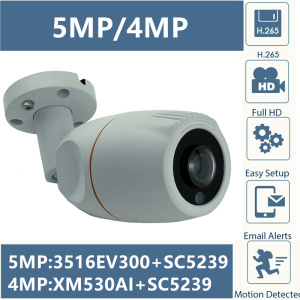 Panorama FishEye 5MP 4MP IP Metal Bullet Camera Outdoor IP66 WaterProof 3516EV300+SC5239 2592*1944 1.7mm IRC ONVIF CMS XMEYE
