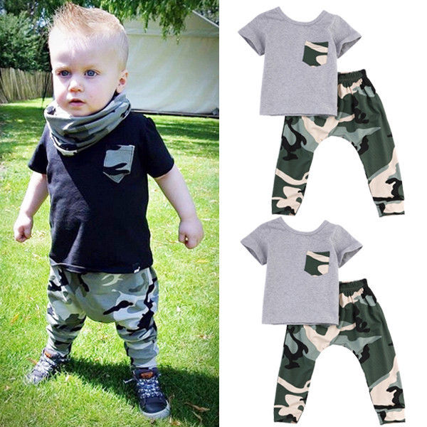 2PC Baby Boys Kids Toddler Sleeveless T Shirt Tops+Pants Clothes Outfit Set UK