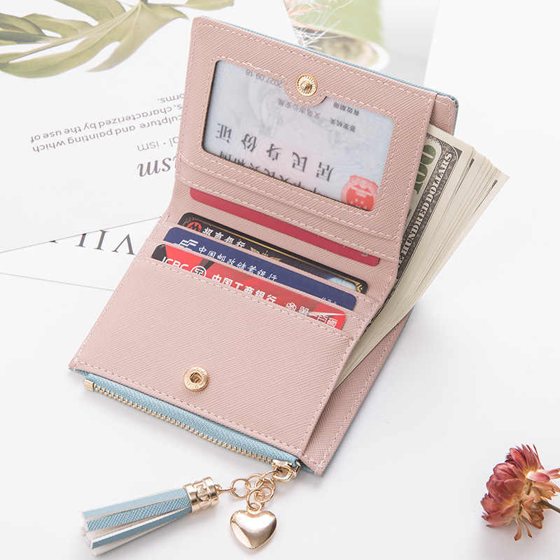 2019 cartera para mujer con borla pequeña cartera bonita para mujer carteras de cuero cortas para mujer con cremallera monederos Portefeuille cartera para mujer