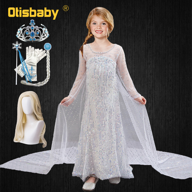 Snow Queen Elsa 2 Dress For Girls Halloween Carnival Cosplay Costume White Sequined Long Dresses Kids Adult Loose Hair Elsa Wig