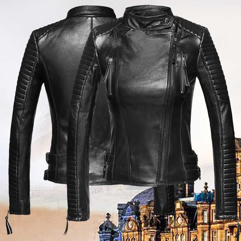 Chaquetas de piel de oveja para mujer Chaquetas automotrices de cuero Real abrigos estilo europeo y americano chaquetas de cuero genuino mujer A599